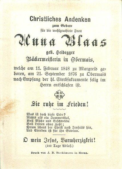 Todesanzeige von Anna Blaas, geborene Heidegger (1848-1876)