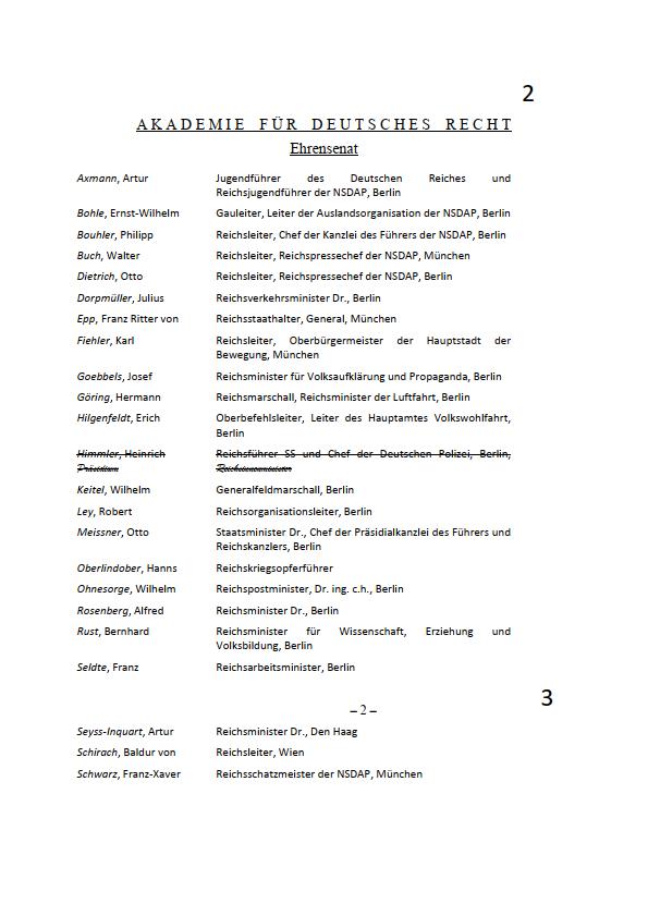 Ehrensenat der AfDR (1941-1943), BArch R61/29, Blatt 2 und 3