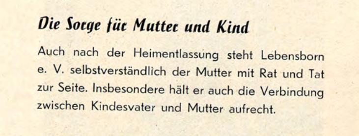Versprechen des Lebensborn e. V., die Verbindung zwischen Kindesvater und Mutter aufrecht zu erhalten, (Illustrierte Broschüre des Lebensborn e.V. 1938)