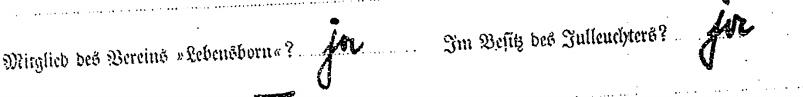 Zeile aus der SS-Führerpersonalakte von Dr. jur. Werner Best, in der die Mitgliedschaft zum Leebnsborn-Verein und der Besitz des Julleuchters durch Vordruck abgefragt und positiv beantwortet ist; R 9361-III/516995 – Anfang der Akte