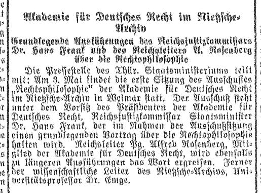 Vorankündigung der konstituierenden Sitzung des Ausschusses für Rechtsphilosophie vom 3. Mai 1934 aus der Allgemeinen Thüringischen Landeszeitung Deutschland
