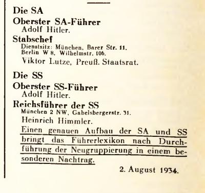 Beispiel einer Überklebung im Deutschen Führerlexikon 1934/35, Zweiter Teil, Seite 8: Der Stabschef der SA heißt laut Überklebezettel Viktor Lutze und wird zusätzliche als Preußischer Staatsrat charakterisiert srcset=